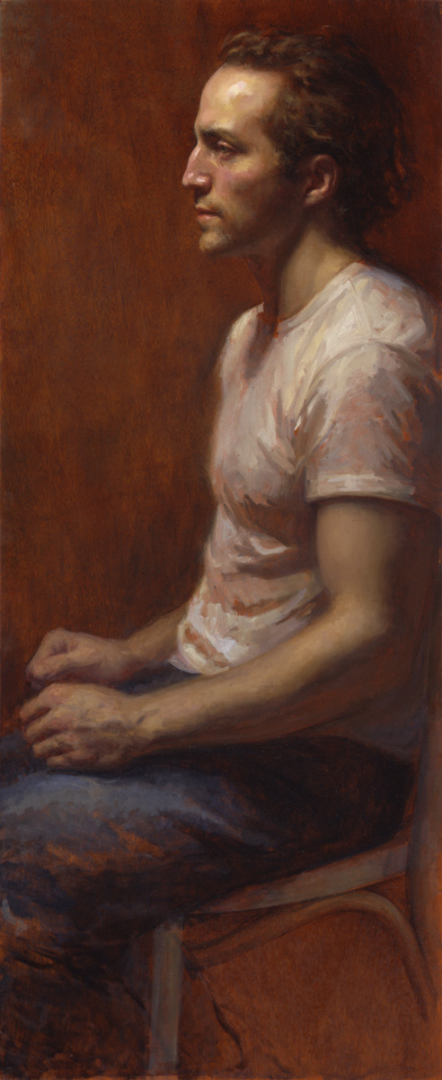Brian Schumaker - 42x17 - oil on mahogany - 2002