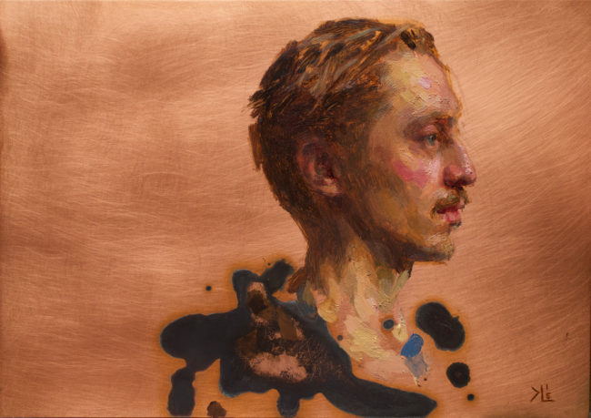 Carl - Profil - 5x7 - Oil and Patina on Copper - 2015