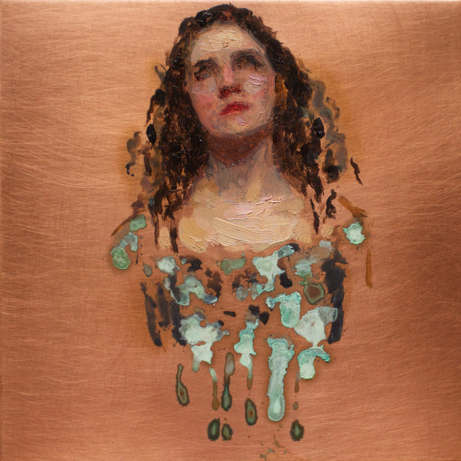 Eloise looking up - 4x4 - Oil and Patina on Copper - 2015