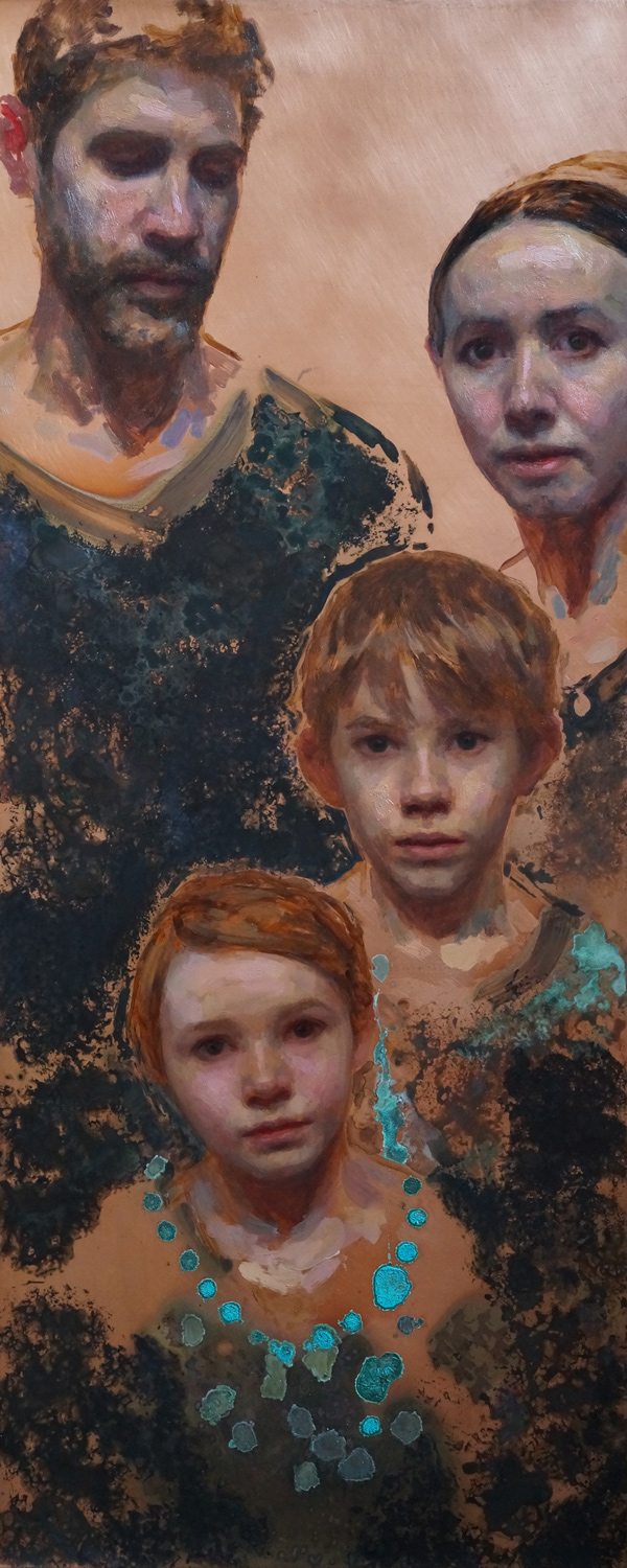 Family portrait - 24x12 - oil & patina on copper - 2015