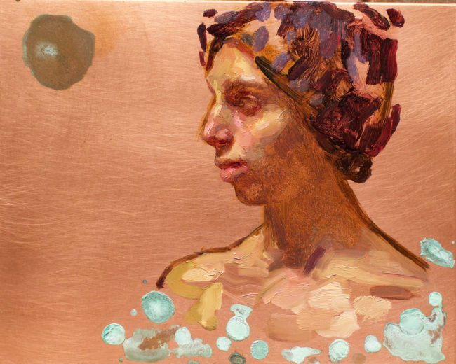 Girl with Hat - 4x5 - Oil and Patina on Copper