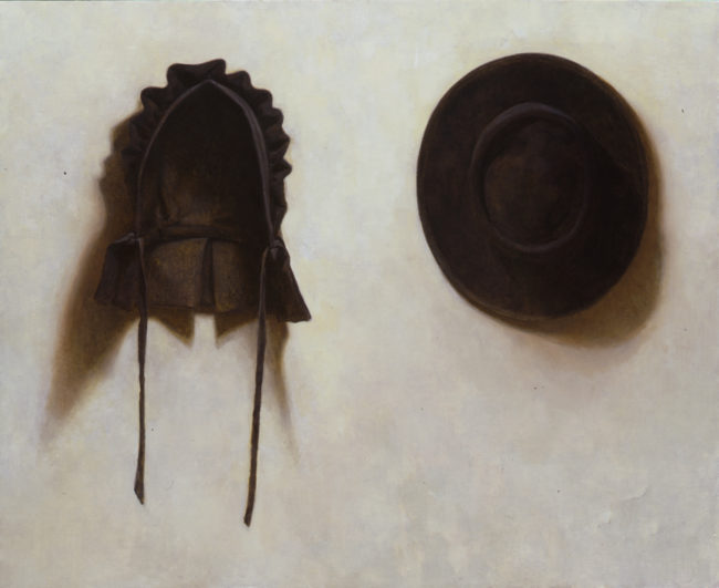 Husband and Wife (hats) - 26x32 - oil on canvas - 2004