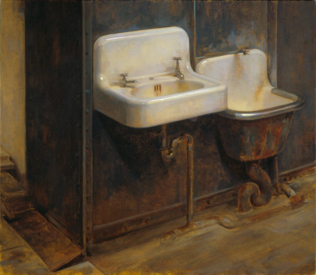 Murray Street sinks - 22x19 - oil on canvas - 2006