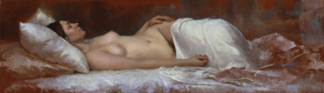 Reclining Nude - 17,5x60 - oil on mahogany - 2003