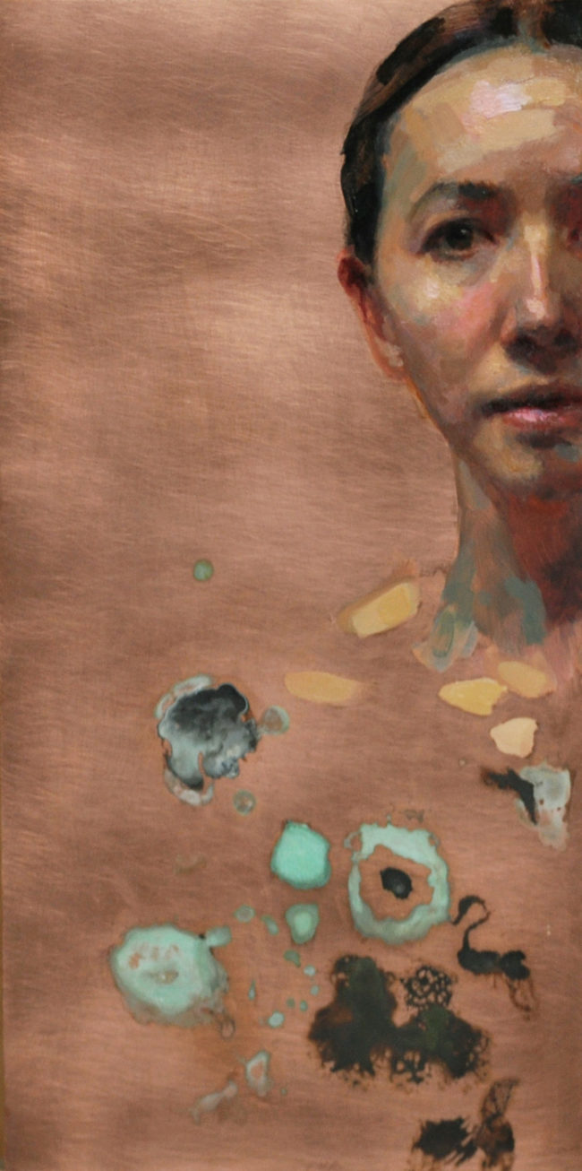 Self Portrait - 12x6 - Oil and Patina on Copper - 2015