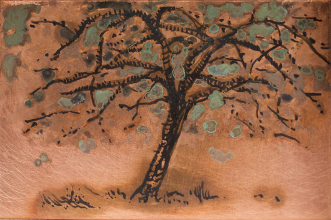 Small Apple tree Blossom - Patina on Copper
