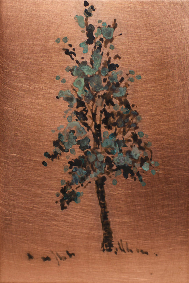Small Tree - 3x2 - Patina on Copper - 2016