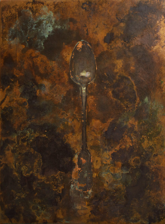 Spoon - 8x10 - oil and patina on copper - 2014
