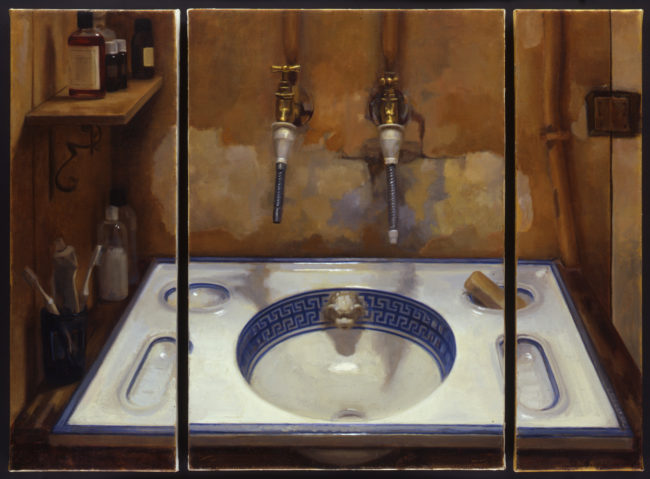 The Bathroom - Triptych - oil on canvas - 2003