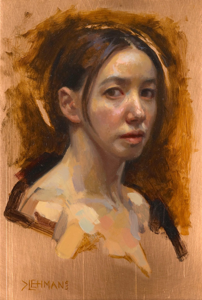 Self Portrait - 6x4 - oil on copper - 2005